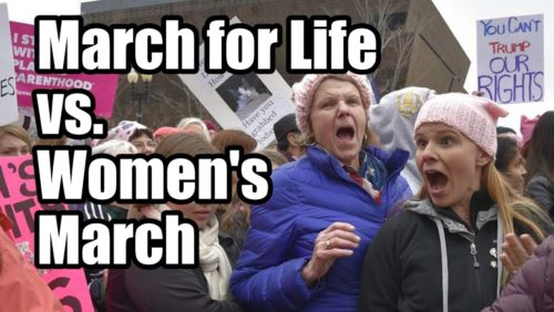 Two Americas.  The Godly and ungodly.   The March for Life: https://www.tfpstudentaction.org/news/2017-march-for-life-a-new-era-in-the-fight-to-end-abortion  The Women's March: https://www.tfpstudentaction.org/news/what-i-saw-at-the-womens-march-vulgarity-everywhere