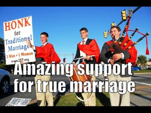 http://www.tfpstudentaction.org/ Amazing Support for True Marriage Seen on TFP Tour   If the battle for natural marriage is lost to the homosexual movement, the future of the family will also be lost.  Few things are as important to the welfare of society as true marriage and, therefore, the need to protect and defend it has never been more urgent.  Thank God, 22 young volunteers signed up for a road trip in defense of marriage in Pennsylvania, Maryland and Virginia.  The self-evident truth that marriage is the sacred union between one man and one woman was vigorously promoted during the 7-day tour conducted by TFP Student Action volunteers from October 21-27.    Seven days of constant travel from city to city demonstrated -- just look at the video footage -- that despite the steady erosion of moral values caused by the sexual revolution, American public opinion firmly believes that natural marriage must be upheld, not redefined or tampered with.