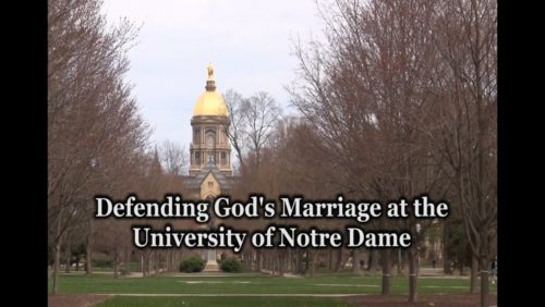 "Original footage.  Notre Dame police tell young Catholics promoting traditional on campus to shut down their table.    http://www.tfpstudentaction.org/what-we-do/news-and-updates/young-catholics-not-welcome-at-notre-dame-shut-down-for-promoting-real-marriage.html  South Bend, Indiana: Young volunteers with Tradition Family Property Student Action were ordered to ""cease and desist"" promoting traditional marriage at the University of Notre Dame on Friday, April 25.  ""Permission to have a table had been granted through an officially recognized on-campus student group,"" said TFP Student Action director John Ritchie.  ""But that permission was revoked for some odd reason.  Police officers arrived soon after we started giving out pro-family literature and cut the event short, informing us that we were no longer welcome to talk to students about the importance of preserving the sanctity of marriage between 1 man and 1 woman, which fully agrees with 2,000 years of Catholic teaching,"" Ritchie explained."