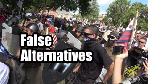"""For further reading on our views of what happened in Charlottesville: http://www.crisismagazine.com/2017/charlottesville-clash-false-alternatives  http://www.returntoorder.org/2017/08/growing-tyranny-culture-killers/  Creative Commons Attributions for Pictures Used: Picture 1: """"Anti-Fascist"""" by Johnny Silvercloud CC BY-SA 2.0 Feathered crop https://www.flickr.com/photos/johnnysilvercloud/32420605486/in/photostream/  Picture 2: """"Richard Spencer"""" by V@s CC BY-SA 2.0 https://www.flickr.com/photos/vas/30910084580/"""