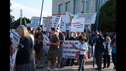 Hundreds defended Jesus and Mary against the satanic Black Mass and the public sacrilege perpetrated against the Virgin Mary at the Civic Center in Oklahoma City on August, 15, 2016, Feast of the Assumption.