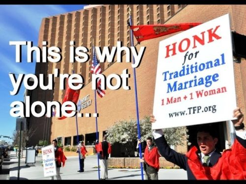 http://www.tfpstudentaction.org/ -- You're not alone.  Just look at all these Americans who support marriage -- 1 man + 1 woman.  So many are decisively on the morally right side of history.    God bless you. Share this video with friends.