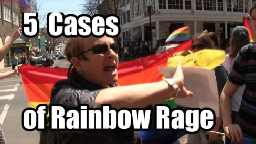 "5 Ugly cases of Rainbow Rage -- http://www.tfpstudentaction.org/  Have you ever seen pro-homosexual advocates just lose it? Cry, stomp their feet, throw things, blast you with insults, and then call you judgmental?  Well, here are 5 examples of what happened to TFP volunteers while on tour for traditional marriage throughout Pennsylvania, Indiana and Ohio in April, 2014.   On our short trip we met with many counter protesters who in the name of tolerance came out and tried their hardest to stop what we were doing. If you have friends who still tell you that pro-homosexual advocates are ""tolerant,"" send them a link to this video. It will change their opinion."