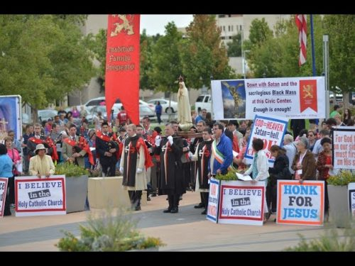 TFP prayer rally of reparation against the satanic Black Mass at the Oklahoma Civic Center on September 21, 2014.